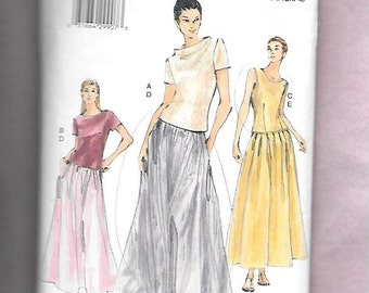 Vogue 7058 Misses' Formal Gathered Evening Length Skirts And Short Sleeve Or Sleeveless Tops Sizes 8, 10, 12