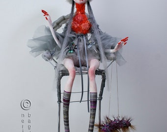 """Exclusive high fashion Art Doll """"LADY ROBIN"""". Couture Doll. Static Interior Sculpture. Free shipping."""