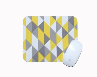 Triangle Mouse Pad / Yellow, Gray, and White / Home Office Decor Desk Accessory / Simpatico Collection / Cloud 9 Organic