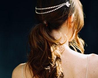 Tocado de novia, tocados de cristal, Rhinestone hoja jefe de cadena - estilo 3016