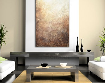 Original abstract acrylic painting textured art 24 x 36 palette knife brown modern abstract large painting by L.Beiboer - ready to hang