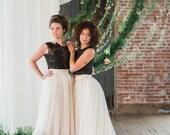 "Wedding Skirt - Cordelia - Dip Dyed Wedding Dress - Ombre Wedding Dress - Black Wedding Dress - Chiffon Skirt 20"" Train"