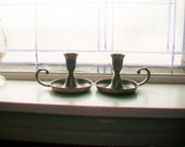 Pewter Candlestick Holders Pair Vintage Chamber Candle Holders Preisner