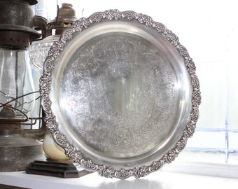 Antique Silver Plate Tray with Roses Rim Decoration Wm A Rogers