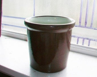 Vintage Kitchen Crock Beater Jar Redware Stoneware 1940s