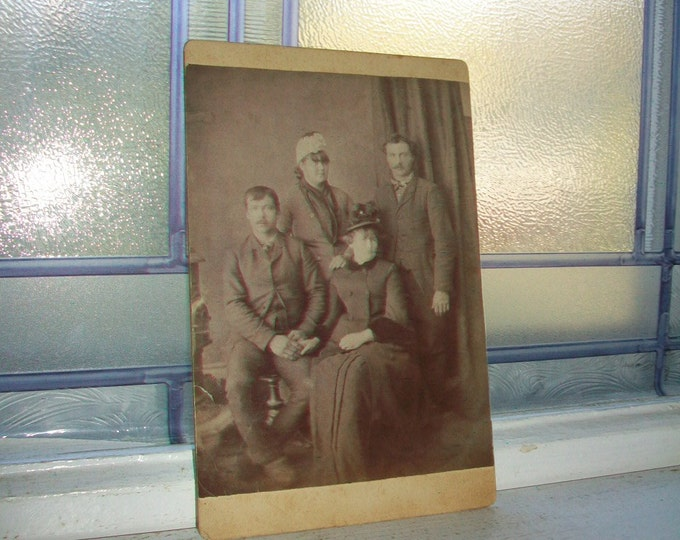 Antique Cabinet Card Photograph Two Victorian Couples 1800s