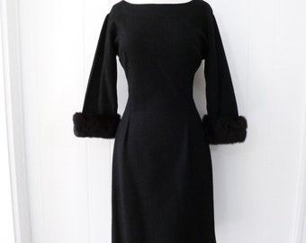 50's Bombshell Wiggle Dress Mink Fur Cuffs Black Wool Party Dress L