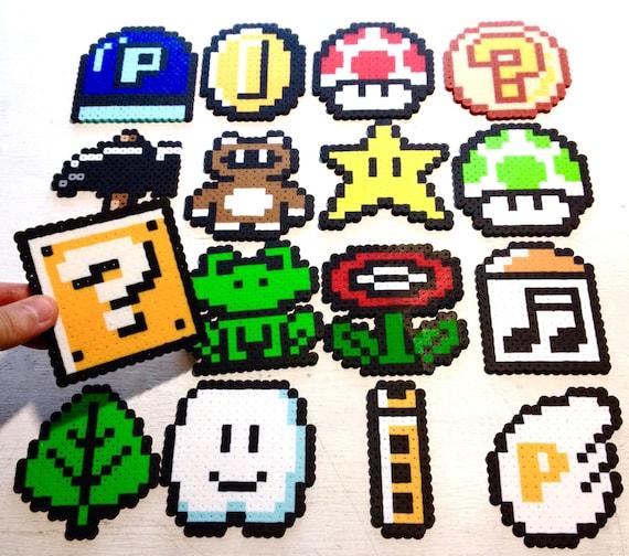 Super Mario 3 Retro Video Game Art. Perler Bead 8 bit Pixel