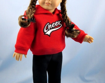 Doll Clothes - Cheer Hoodie and Sweatpants - will fit American Girl dolls - 18 Inch Doll Clothing - Red and Black Cheer