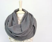 Grey Infinity Scarf, Fall Sweater Ribbed Knit Cozy, Girlfriend Wife, Womens Accessory Gray Circle Scarves Gift for Her Mom, Best Selling