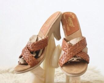 Vintage Caramel Braided Leather Sandals 6