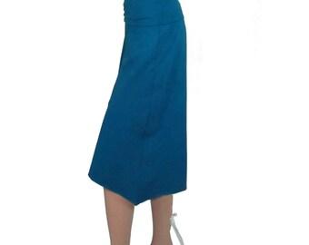 High-Low Gauchos, Asymmetrical Wide Leg Capris - Ready to Ship - Size S/M - Dark Teal Organic Cotton/ Bamboo Jersey