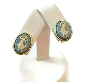 Blue Cameo Earrings Longcraft Cameo Earings Screw Back Earrings Antique Victorian Jewelry Vintage Cameo Jewelry 1940s Jewelry