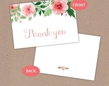 Watercolour Rose Thank You folded Card - Floral Vintage Wedding Gift - Digital Instant download