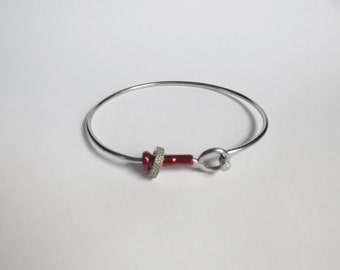 Recycled Stainless Steel Bicycle Spoke, Valve Nut and Red Anodized Spoke Nipple Bracelet , Upcycled Bike Jewelry