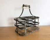 Reserved for Trine: Vintage rustic mid-century French 6 space zinc wine bottle rack or bottle carrier with wooden handle