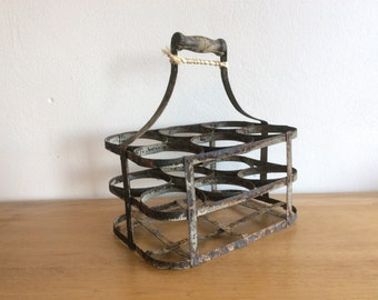 Vintage rustic mid-century French 6 space zinc wine bottle rack or bottle carrier with wooden handle