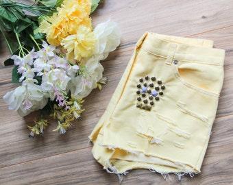 Studded vintage denim shorts sugar skull | High waisted denim shorts | Ripped distressed shorts | Vintage shorts | Festival hipster shorts |