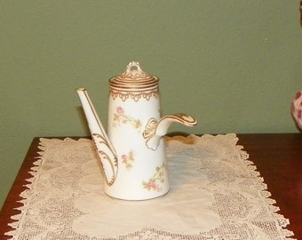 Antique Haviland Limoges Invalid Feeder Teapot France Porcelain flowers floral