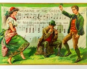 Antique Saint Patrick's Day Embossed 'Wearing of the Green' Postcard 1909, Raphael Tuck & Sons' Series No. 157 'The Emerald Isle', Saxony