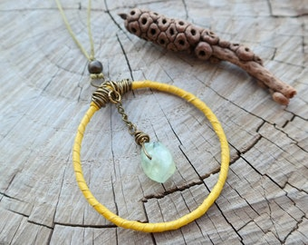 Boho Leather Hoop Necklace with Bamboo Coral