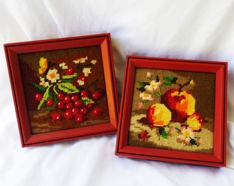 Vintage Needlepoint Fruit Still Life Art Pair