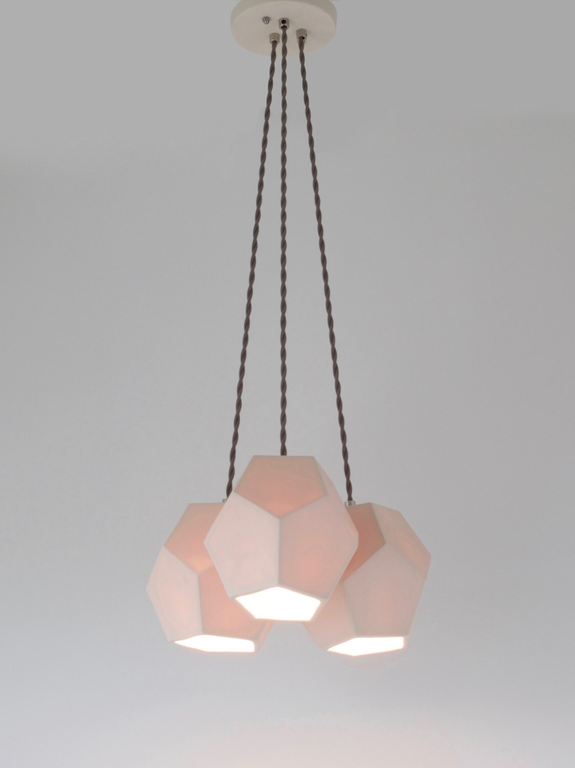 Hexagon Trio Chandelier, Translucent Porcelain Ceramic Lighting, Modern Lighting Design
