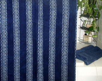 Fabric Shower Curtain In Hmong Indigo Batik, Deep Blue Cloth Shower Curtain FREE Shipping