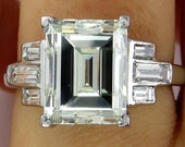 Impressive Art Deco 5.03ct Emerald Cut and Baguette Diamond Engagement Wedding Platinum Ring, EGL USA