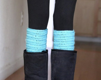 Mint Boot Cuffs, Crochet Boot Topper Set