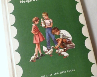 Vintage Children's Book Alice and Jerry Reader. State Textbook. Retro Kids, Vintage Illustrations.1960s. Old School.