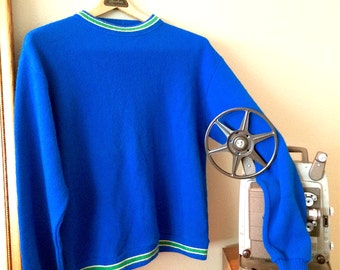 1960s Royal Blue Men's Pullover Sweater Size Large