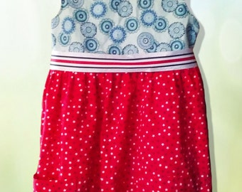 Red White and Blue Kids Dress Ribbon Pockets Cotton Polyester