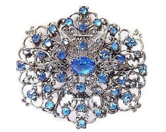 Art Nouveau Brooch Pin Blue Rhinestones Silver Metal Lacy Filigree C Clasp 2 3/4 in Vintage