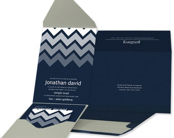 Modern Bar Mitzvah Invitations: Navy and Gray Pocket Invitations. Modern Bar Mitzvah.  Chevron Design.