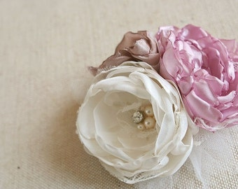 Bridal Silk Flower Hairpiece, Flower Hair Comb, Vintage Style Wedding Fascinator, Shabby Chic Flower Comb, Ivory, Pink, Brown, Lace, Veil