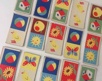 Vintage 17 Domino animal illustration  playing cards  toy  70s Fernand Nathan