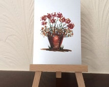ACEO Flower pot painting miniature original encaustic art card OOAK