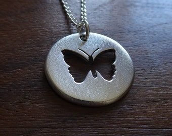 Handmade Silver Butterfly Pendant Necklace, Satin