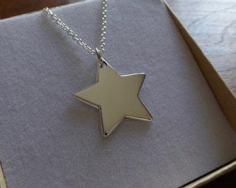 Silver Star Pendant Necklace, Handmade