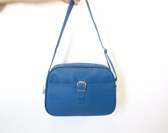 Vintage 60s mod blue travel carry on bag luggage tote