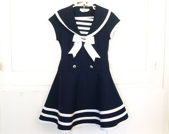 Vintage little girls navy striped holiday sailor dress youth size 5 Small S holiday christmas easter