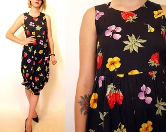 Vintage 80s women's black romper with strawberries and flowers size small