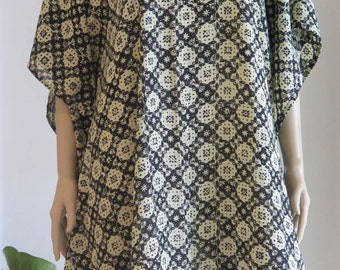 Caftan, Black and Cream Kaftan, Cover up, Summer Dress