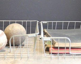 2 Vintage Metal Wire File Baskets // Metal Shelf Basket // Wire Basket