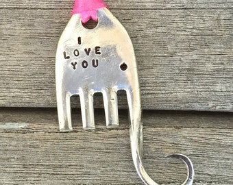 I LOVE YOU elephant Stamped Fork ORNAMENT Pink Ribbon small cute vintage fork