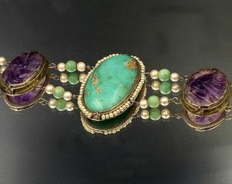 Turquoise Bracelet, Art Deco Bracelet, Antique Carved Amethyst Bracelet Antique Statement Bracelet Green Jade Seed Pearl Bracelet Circa 1910