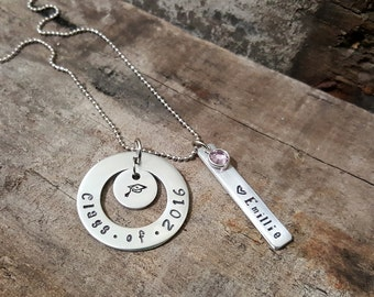 Hand-stamped Graduation Necklace. Class of 2016 Necklace with Birthstone. High School or College Graduation Necklace