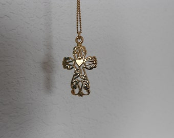 Vintage gold plated cross.  Filigree.  Religious.
