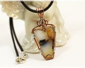 Montana Agate / Agate Jewelry / Copper Pendant / Montana Agate Necklace / Leather Cord